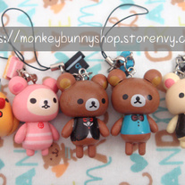 Rilakkuma and Korilakkuma and Kiiroitori Wooden Cell Phone Charms
