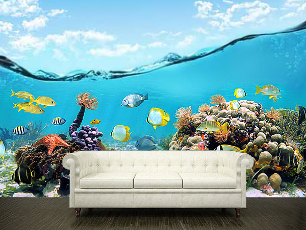 Wall sticker mural ocean sea underwater decole film poster for Mural film