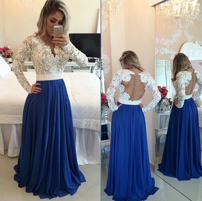 E113 Long Sleeves Lace Pearls Chiffon Prom Dresses V Neck White&Blue ...