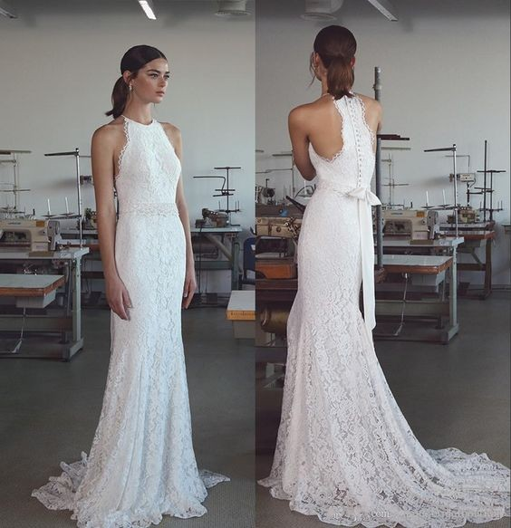 High Quality French Lace Wedding Dress,Slim Halter Neckline Bridal ...