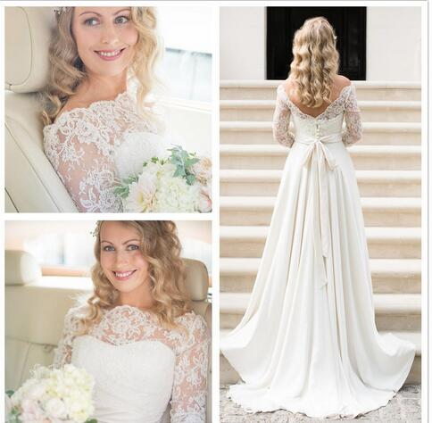 A474 A Line Wedding Dress Actual Picture 2018 Lace Bohemian Wedding ...