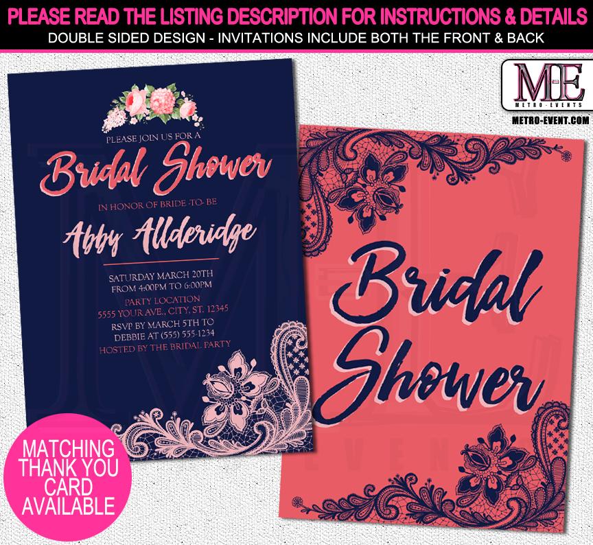 Navy coral bridal shower invitations metro events party supplies navy coral bridal shower invitations filmwisefo