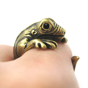 Miniature Iguana Chameleon Animal Wrap Ring in Bronze Sizes 5 - 9 US Available