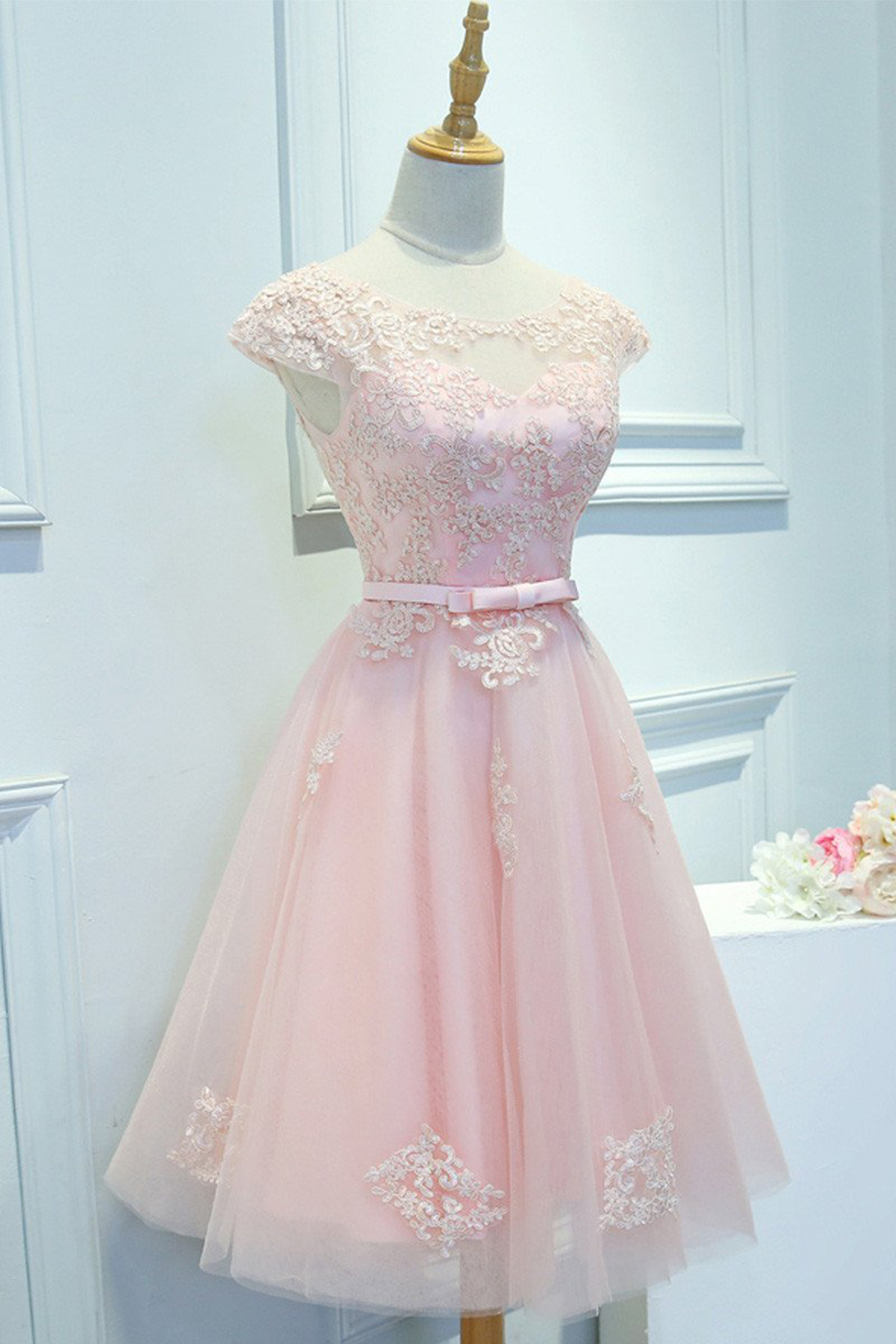 Cute pink tulle short lace appliques prom dress, party dress ...
