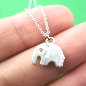 Tiny Elephant Silhouette Shaped Charm Necklace in Silver