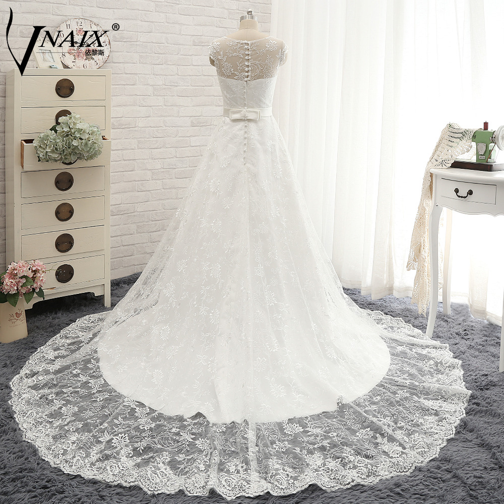 AM406 Real Photo Lace Wedding Dresses Sheer Top,White Lace Wedding ...