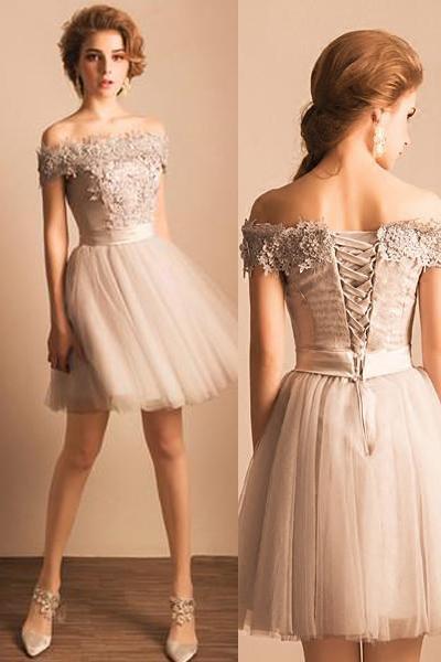 Grey Off Shoulder Elegant Style Homecoming Dresses Short Prom Dress