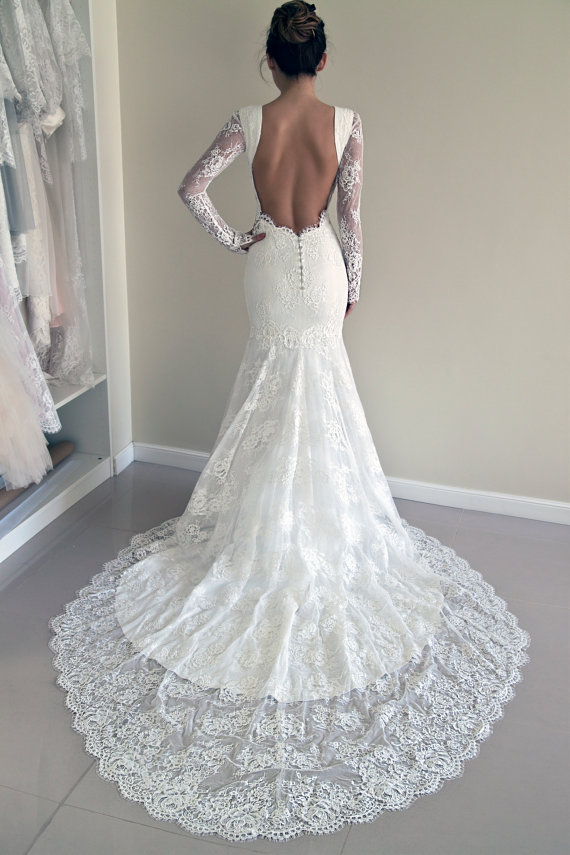 E183 Mermaid Long Sleeves White Lace Wedding Dress,Charming Lady ...