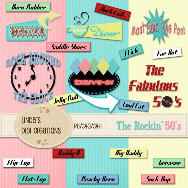 The Rockin 50s Digital Scrapbooking Kit Lindas Digi Creations