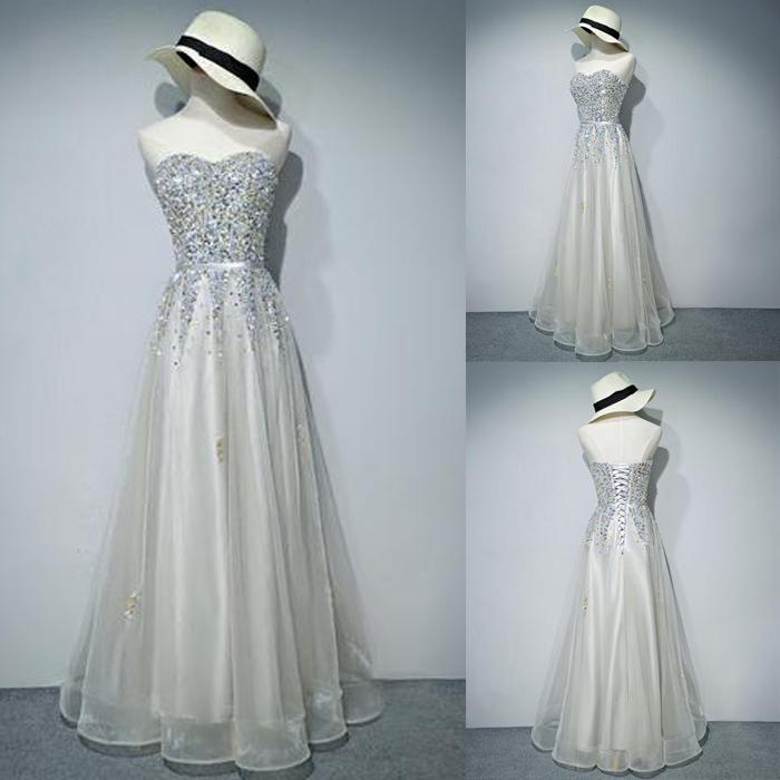 Long prom dress, lace up back prom dress, sweetheart prom dress ...