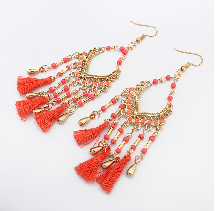 It/'s a Dark Red Red Color Beads Golden Style Dangle Earrings for Women /& Girls