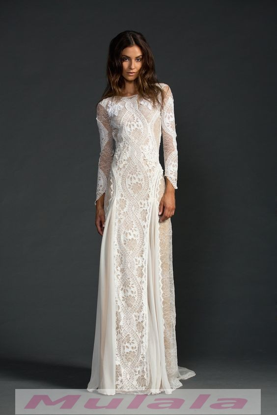Vintage Lace Mermaid Long Sleeve Wedding Dresses Summer Beach Boho ...