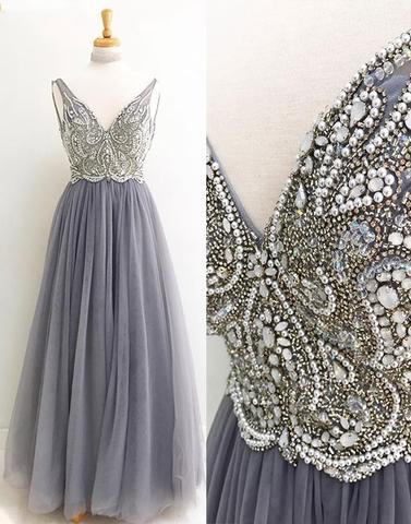 Rhinestone Beaded Light Grey Prom Dresses, Long A-line Prom Dresses ...