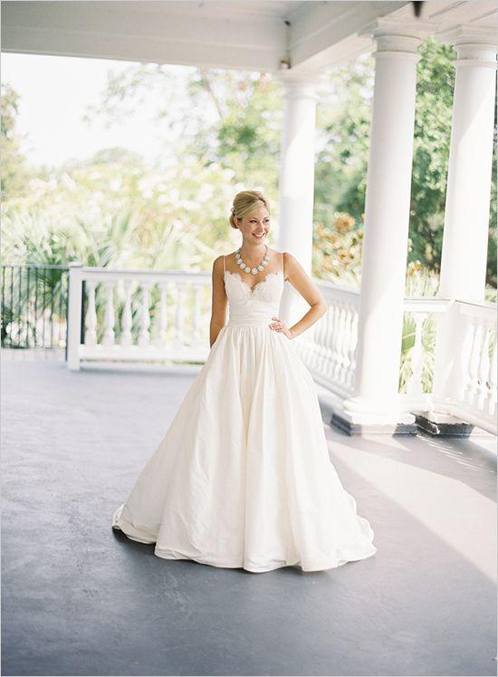 Simple A line Spaghetti Straps Wedding Dress,Informal Lace Wedding ...