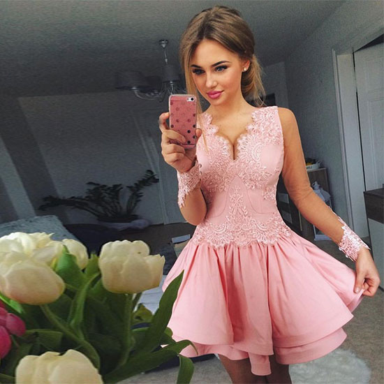 Cute pink lace long sleeve short prom dress, long sleeve homecoming ...