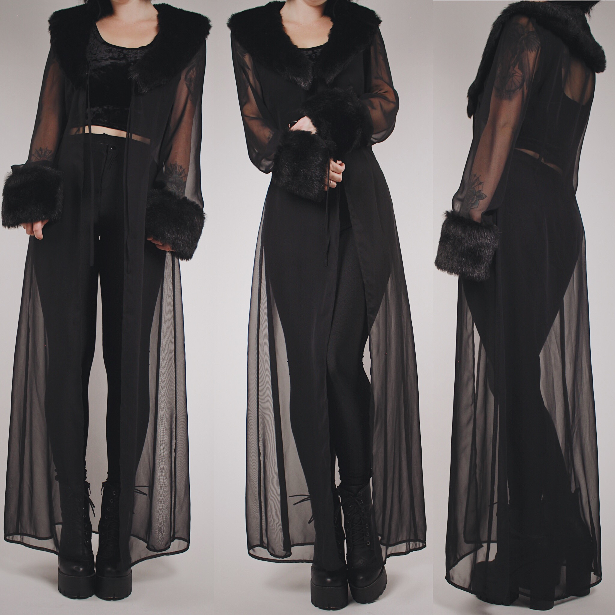 Claimed At Vamps420 Vintage 90s Black Sheer Dressing Gown With
