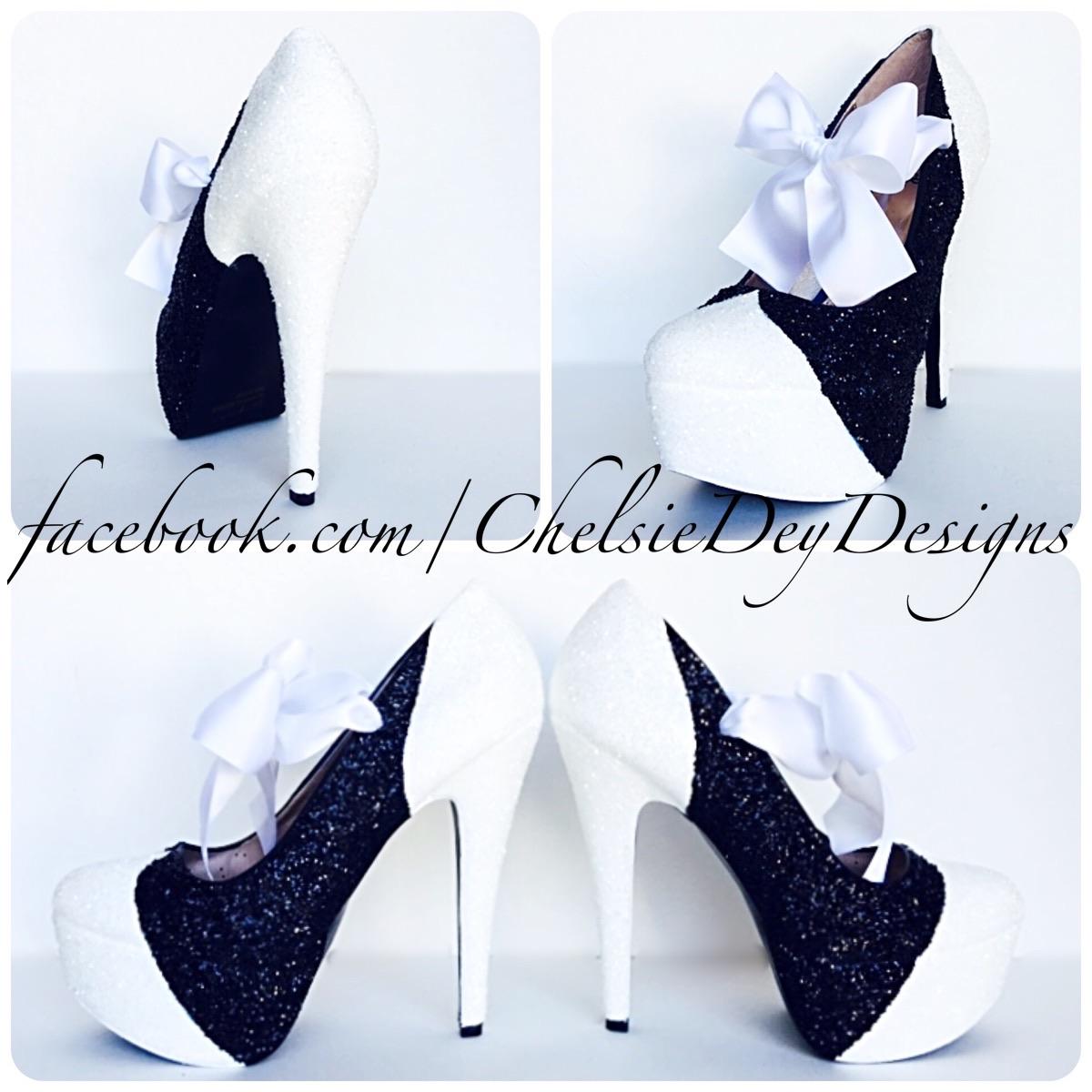 Glitter High Heels Black White Platform Pumps Sparkly Wedding Shoes