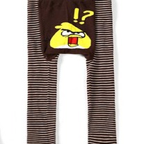 Brown Pants Yellow Angry Bird Pants Leggings Unisex Boys Girls Baby 3 mos to Kids Toddler Childrens size 4t