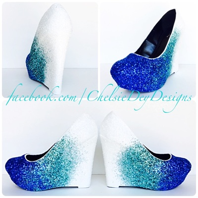 Peep toes wedges chelsie dey designs online store powered by white ombre glitter wedges aqua light blue heels tiffany blue wedding shoes junglespirit Images