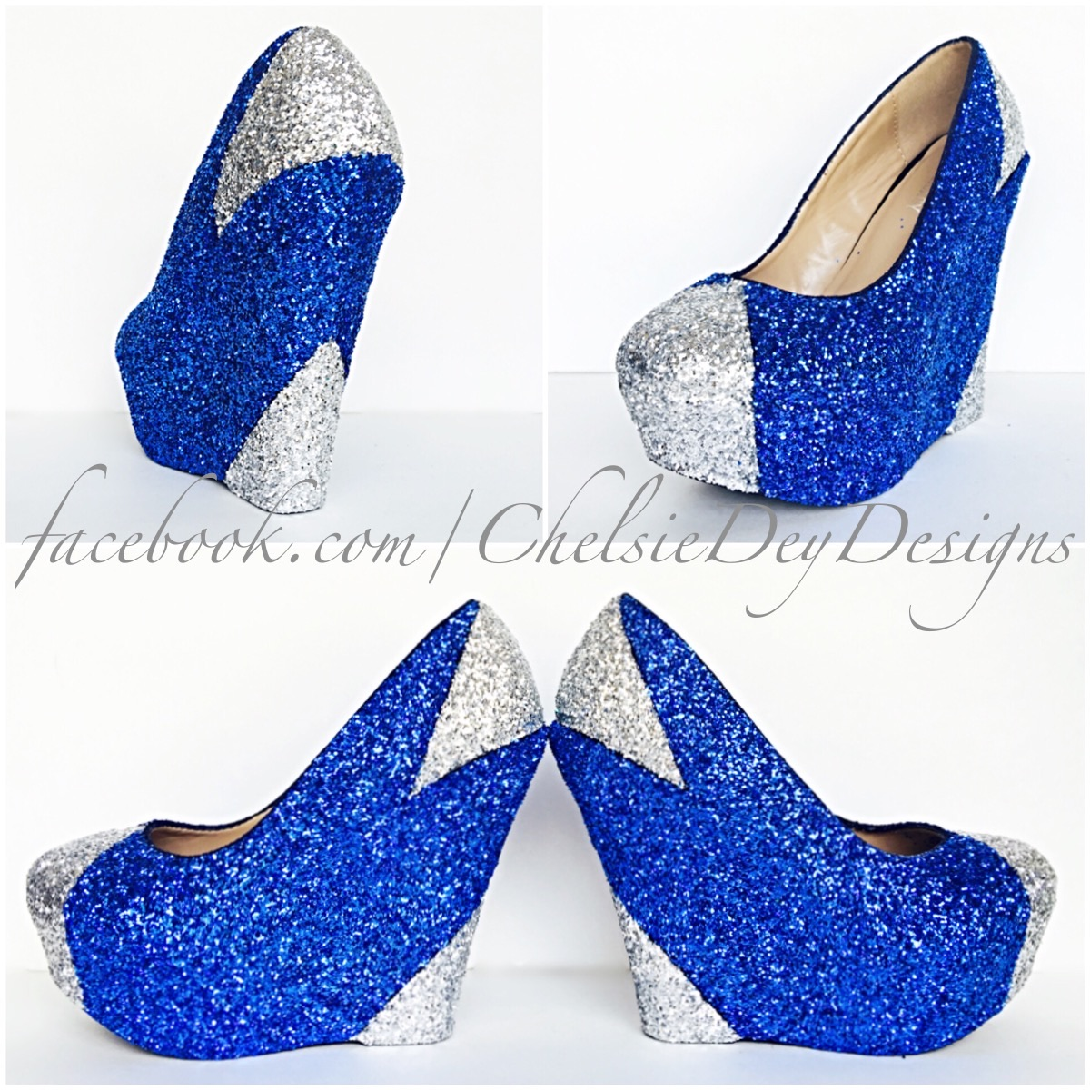 High Quality Blue Wedge Glitter Heels   Silver Platform Shoes   Wedding Shoes