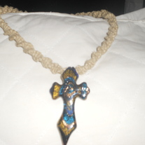 Hand Braided Hemp Necklace with Glass Cross Pendant