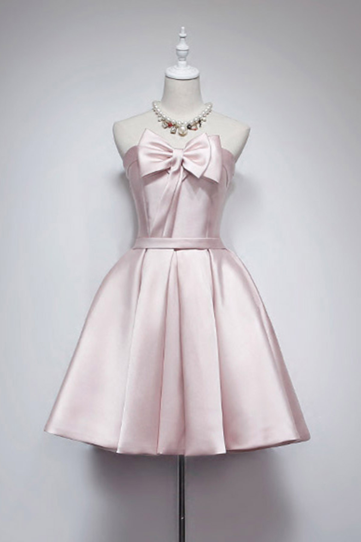 Simple pink spring short party dress with bow short bridesmaid simple pink spring short party dress with bow short bridesmaid dress ombrellifo Choice Image