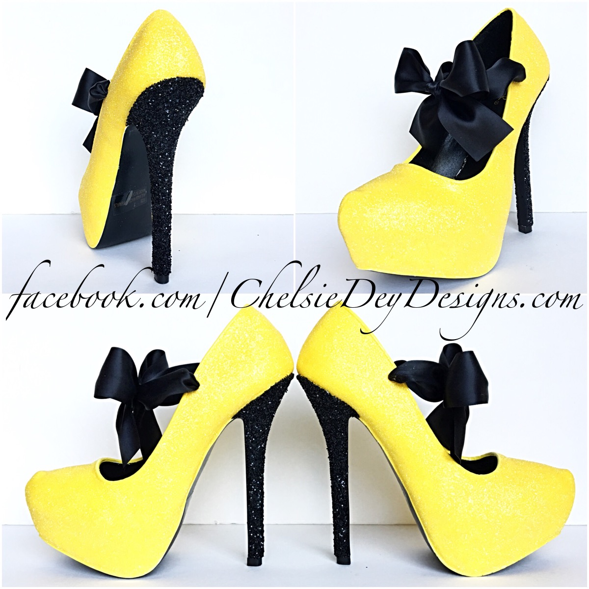 PumpsSparkly Yellow Glitter High HeelsBlack Platform Prom Pumps v0mN8wOn
