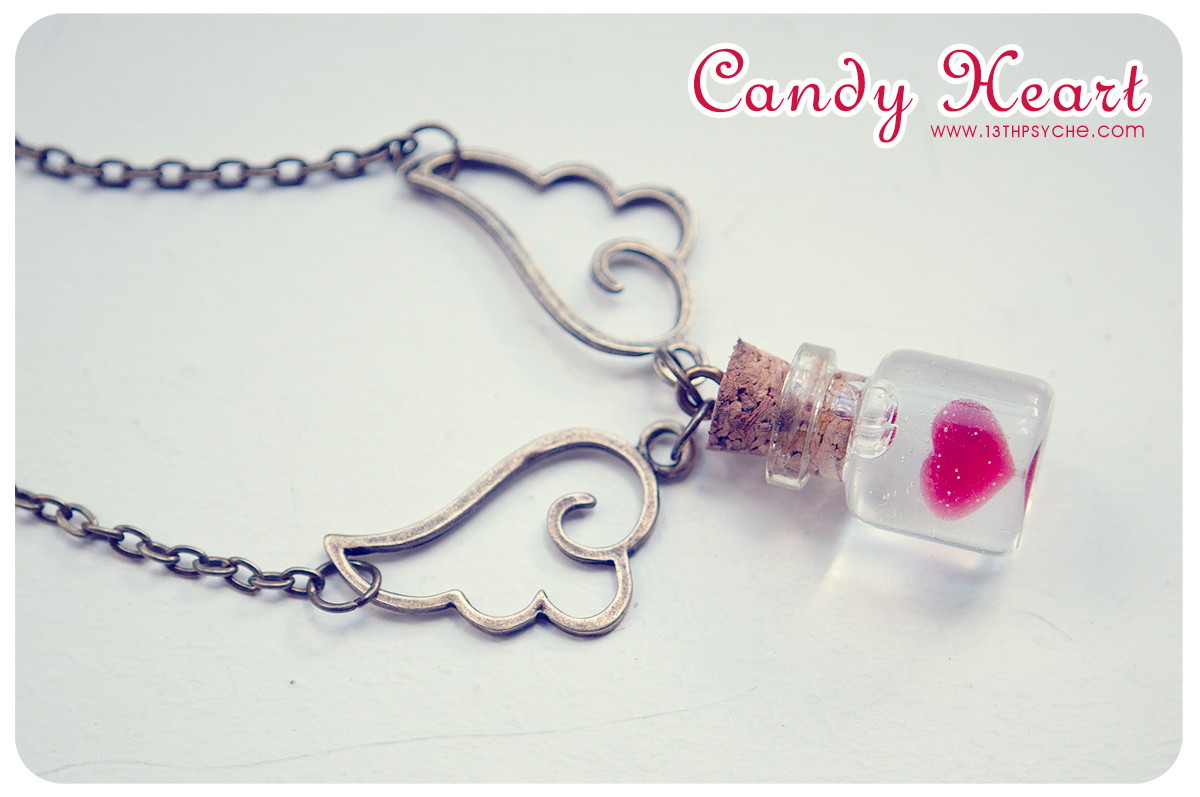Candy heart tiny glass bottle necklace heart bottle glass vial glass vial necklace miniature bottle pendant aloadofball Image collections