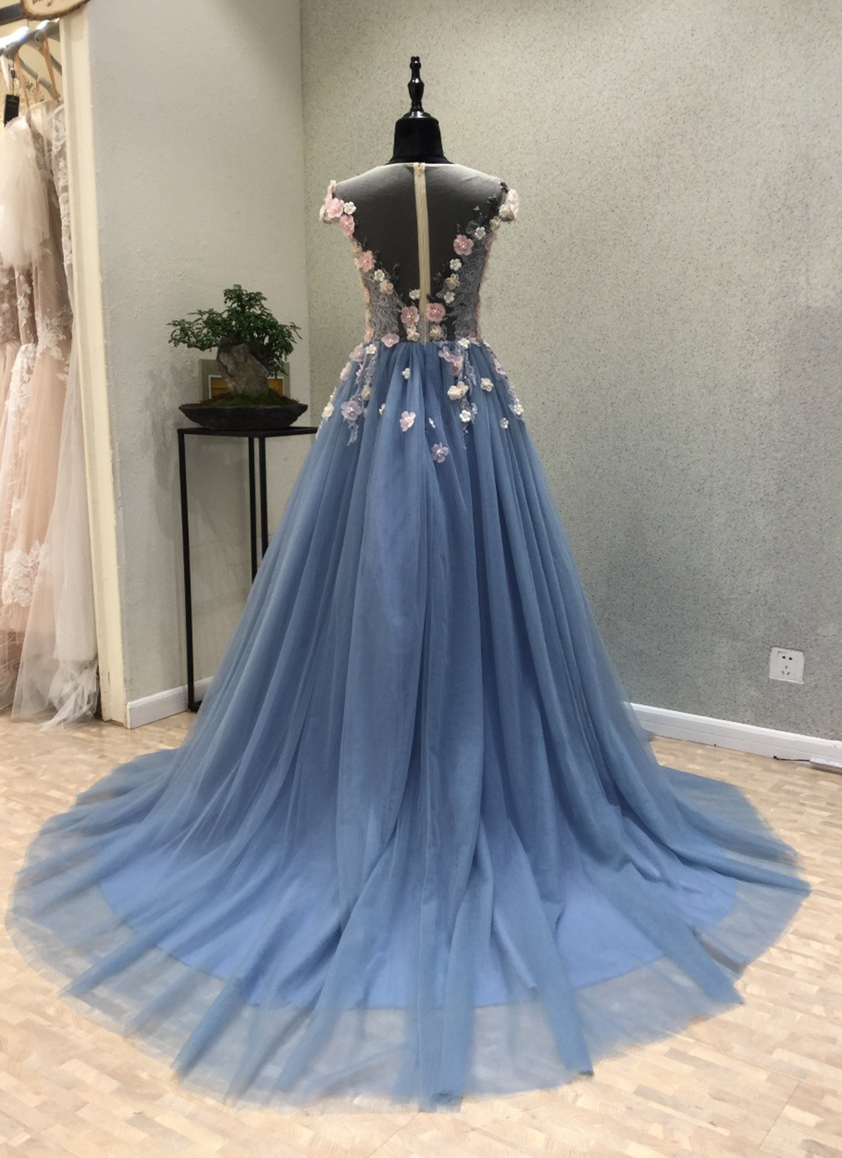 Cheap Prom Dresses by SweetheartDress · Blue tulle see through back ...