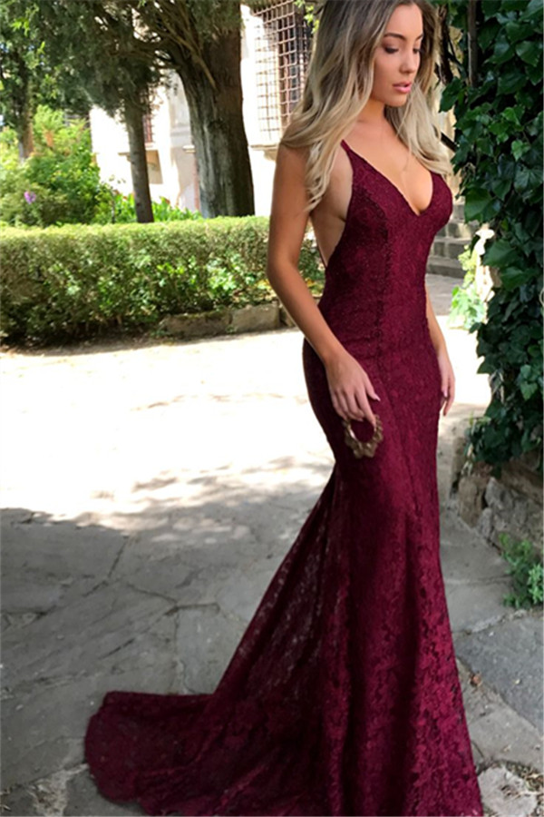 Amazing Lace Maroon Prom Dresses 2018, V Neck Spaghetti Strap Long ...