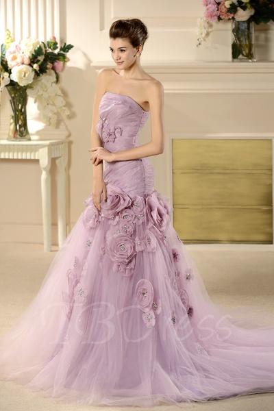 W176 Strapless Mermaid Long Wedding Bridal Gowns,Handmade Flower ...
