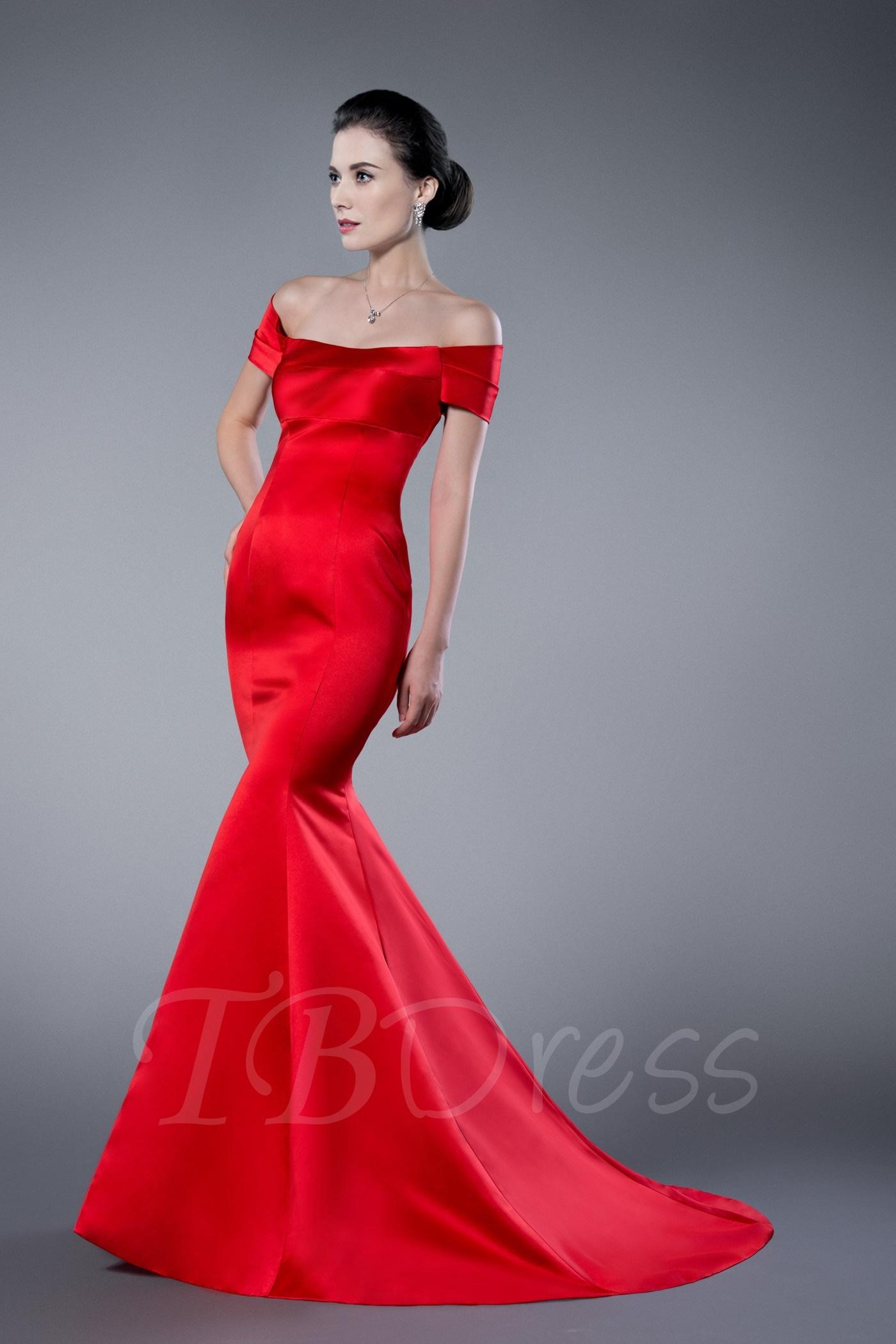 W220 Trumpet Off-the-Shoulder Zipper-Up Formal Evening Dress ...
