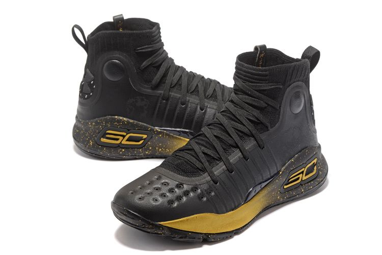 New Under Armour Curry 4 Black Gold Ship Now Latest
