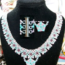 Netted Necklace with beaded pendant