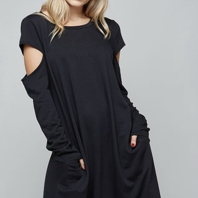 """cold shoulder""sweatshirt tunic/dress s-l"