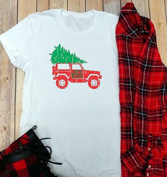 vintage christmas jeep holiday themed graphic t shirts