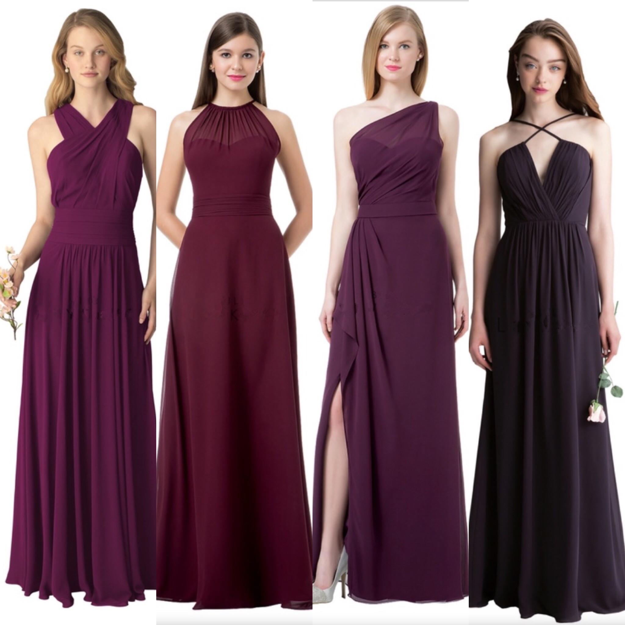 Cheap Chiffon Mismatched Custom Long Bridesmaid Dresses, Affordable ...