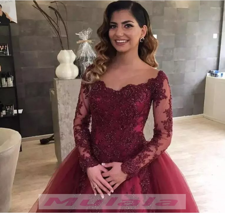 Burgundy Lace Appliques Beaded Detachable Train Prom Dresses Long ...