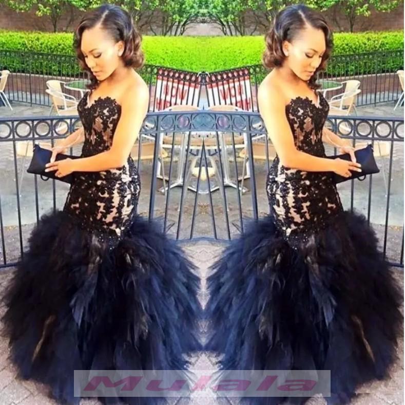 Sweetheart Mermaid Black Girl Prom Dresses 2018 Black Lace Appliques ...