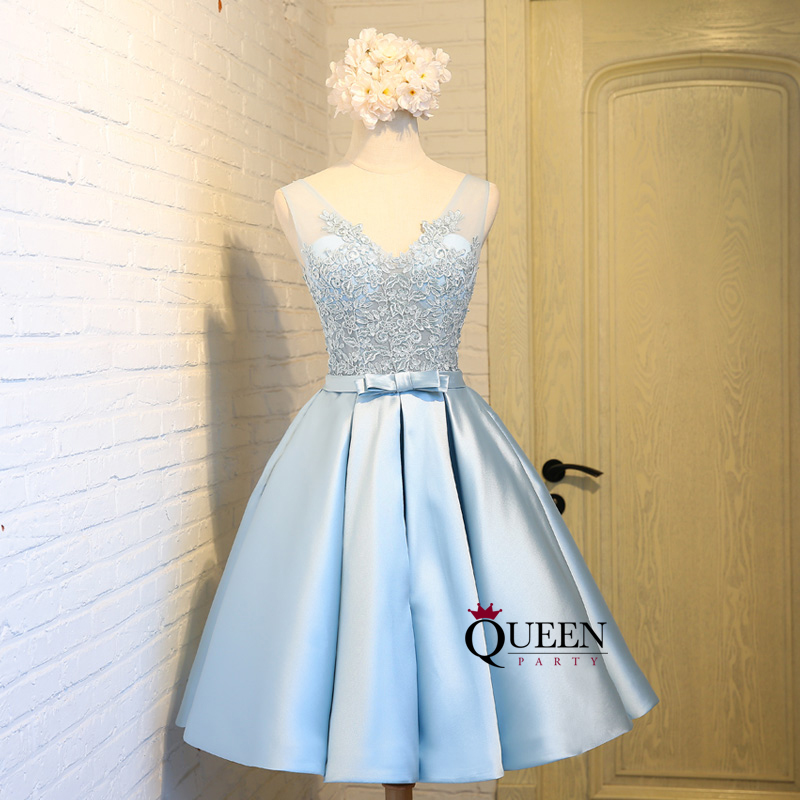 Elegant Light Blue Lace Appliques V-Neck Bowknot Ball Gown Party ...