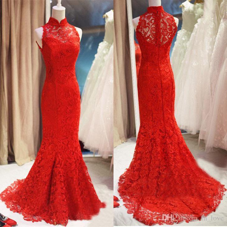 Modest Prom Dress,Lace Prom Dress ,Long Mermaid Prom Dresses,Red ...