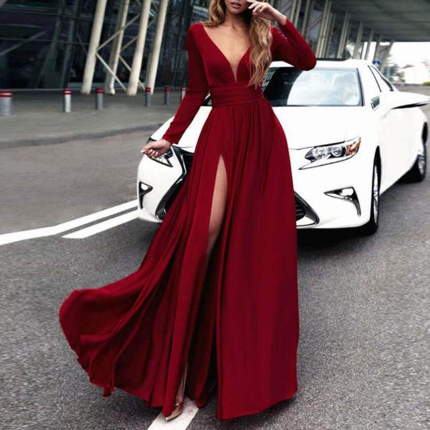 long sleeves formal evening gown wine red v neck prom