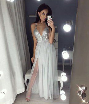 Long white spaghetti strap prom dress