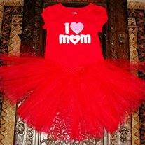 I LOVE MOM Girls T shirt and Tutu Skirt 2 piece Set
