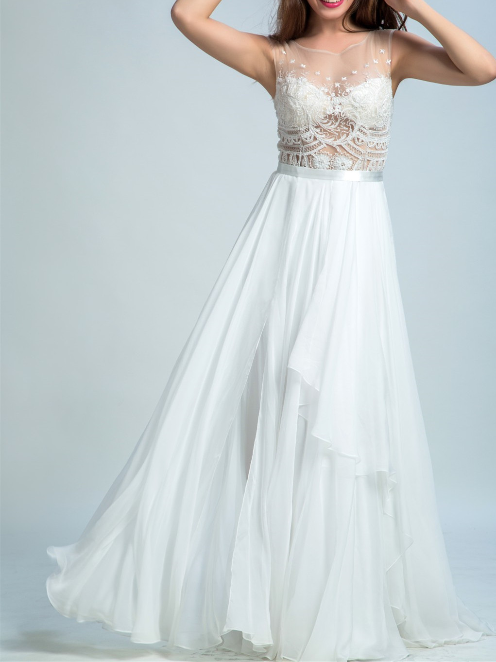 A-line Illusion Floor-Length Chiffon Lace White Prom Dresses 2921 ...