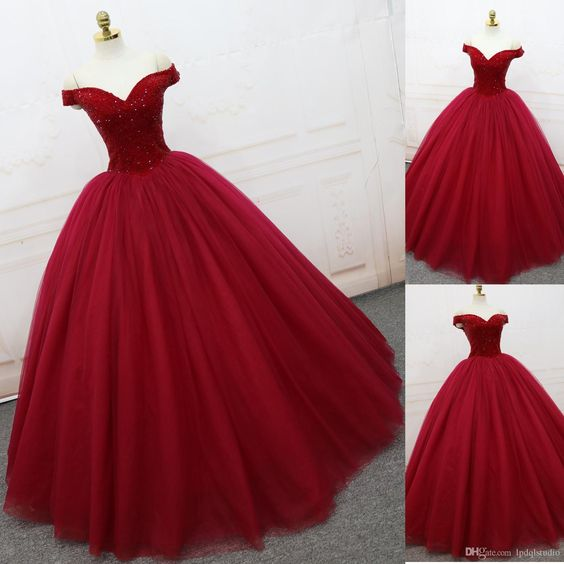 2018 new fashions Sparkling Prom Dresses Ball Gown Dark Red Evening ...