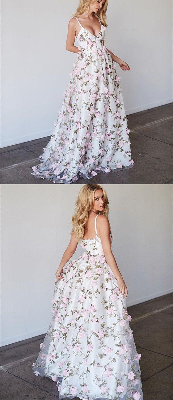 spaghetti straps floral 3D applique prom dress a-line evening dress ...