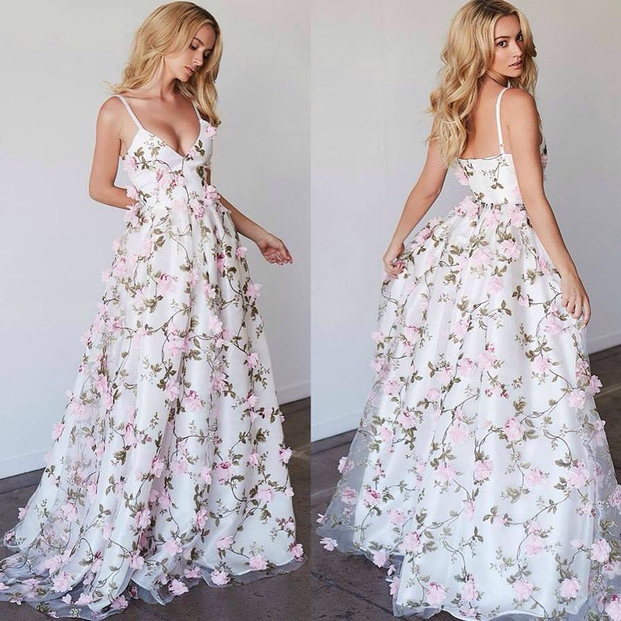 White v neck applique long prom dress, white evening dress · Dream ...