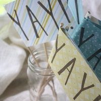 Yay Flags - Stamped by Hand - Ceremony/Party Decor - Thumbnail 2