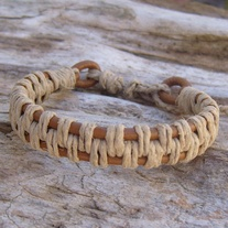 Tan Leather and Natural Hemp Bracelet